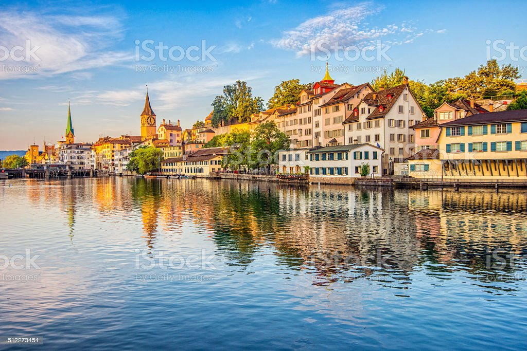 Historic Zurich and Limmat River at sunrise stock photo