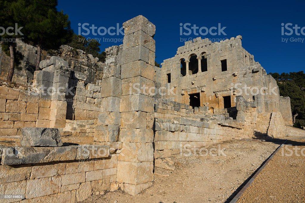 Historical Alahan Monastery. Mut Mersin in Turkey stock photo
