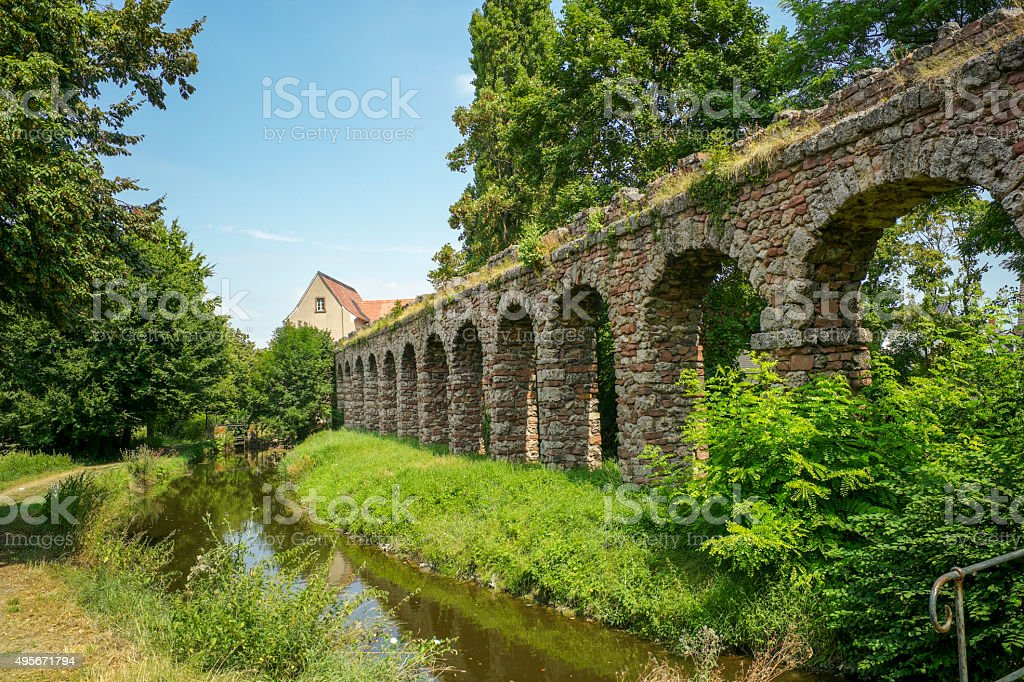 historical arch walls at speyer germany stock photo