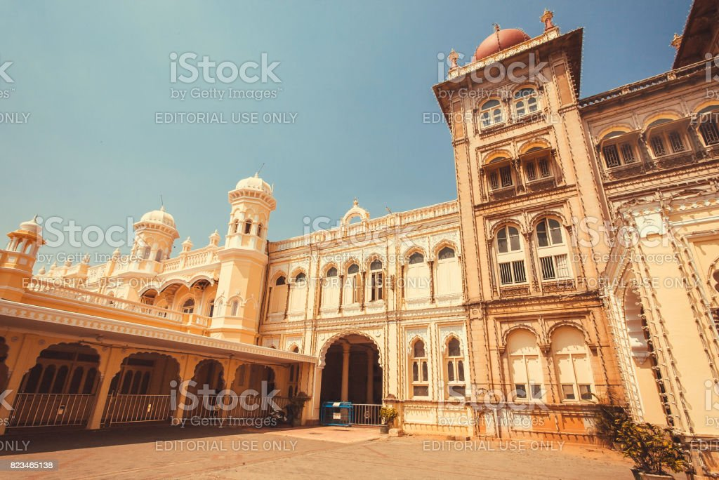 Historical arches and tower of the royal Palace of Mysore, built in 1912 stock photo