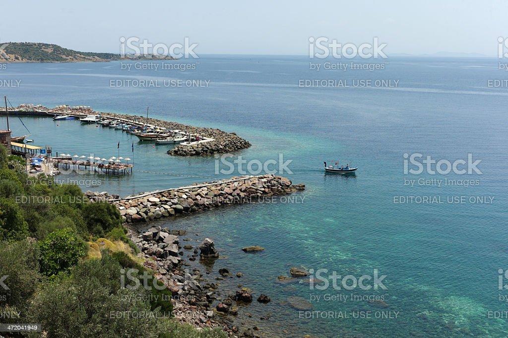 historical assos town coast at canakkale turkey stock photo