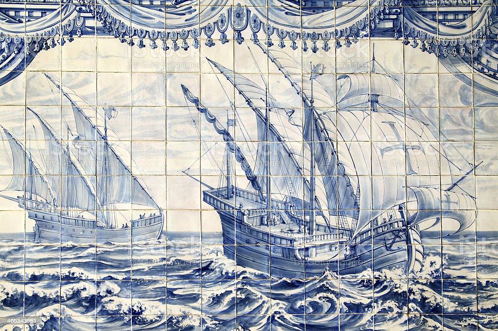 Historical 'Azulejo' tiles, Lisbon, Portugal stock photo