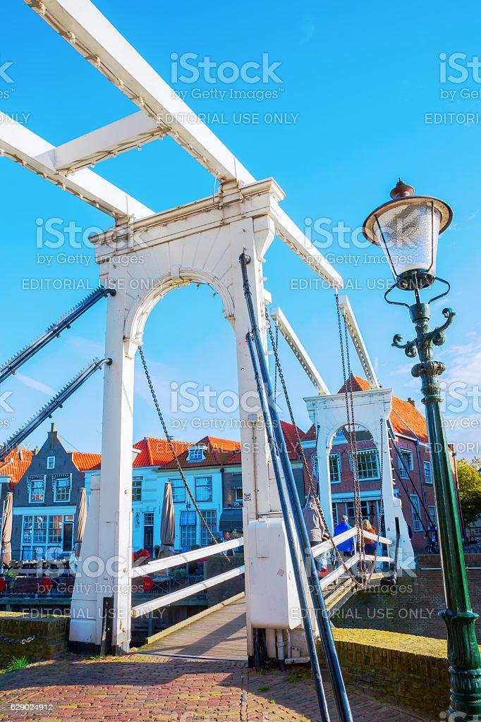 historical bascule bridge in Enkhuizen, Netherlands stock photo