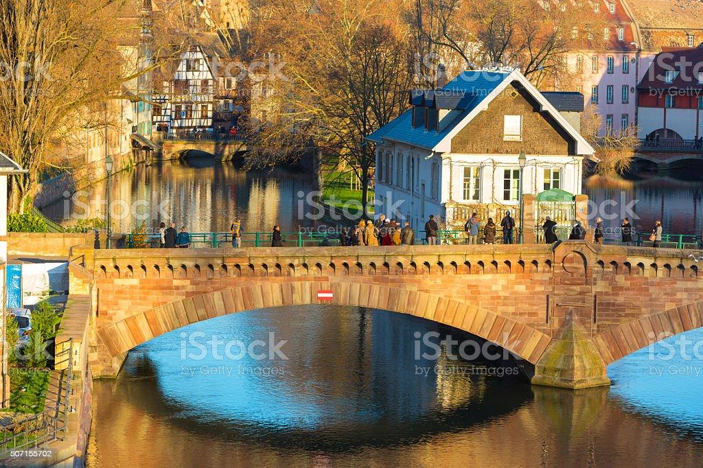 Historical Bridge Strasbourg, Alsace stock photo