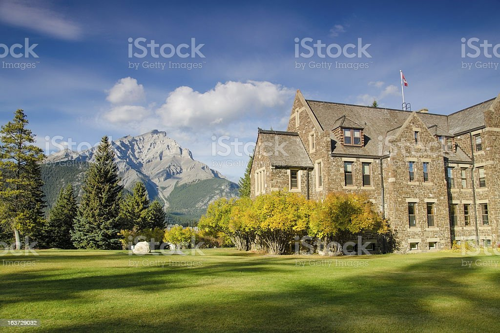 Historical building in Rockies mountain range royalty-free stock photo