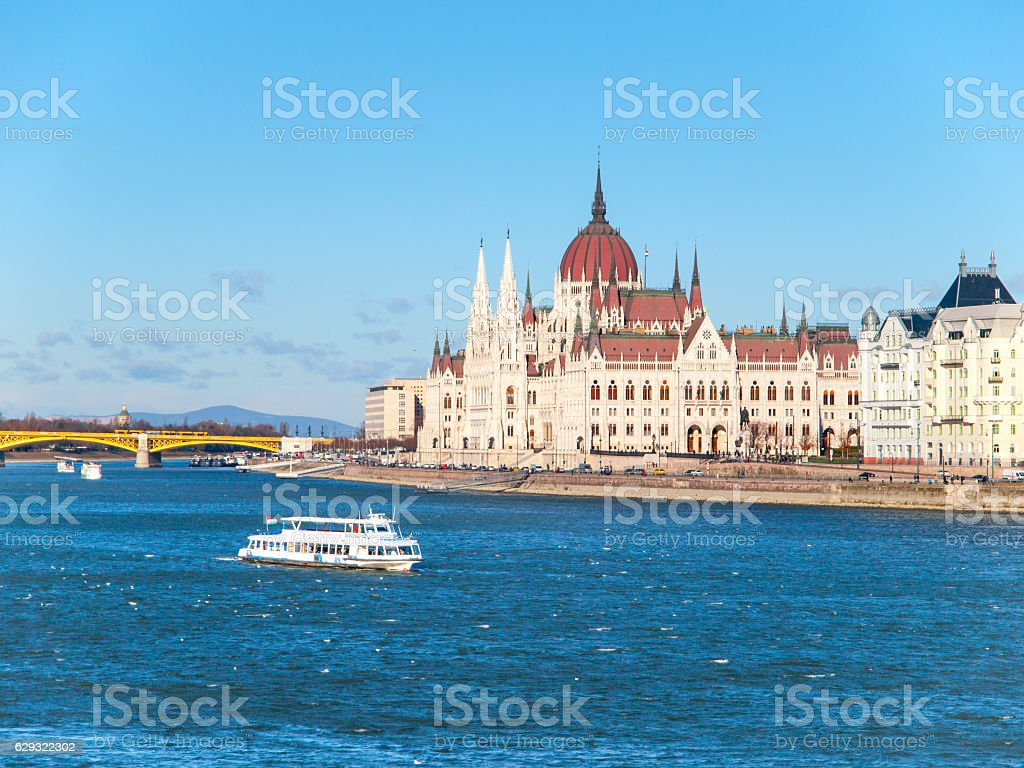 Historical building of Hungarian Parliament on Danube River Embankment in stock photo