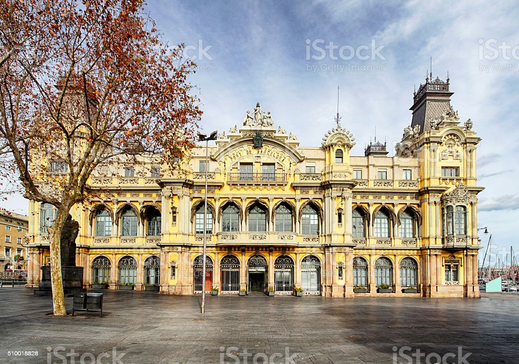 Historical building of Port in Barcelona. harbor and marina. stock photo