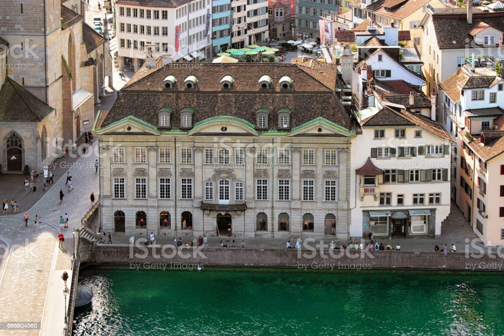 Historical Buildings at Limmat Quay in Zurich stock photo
