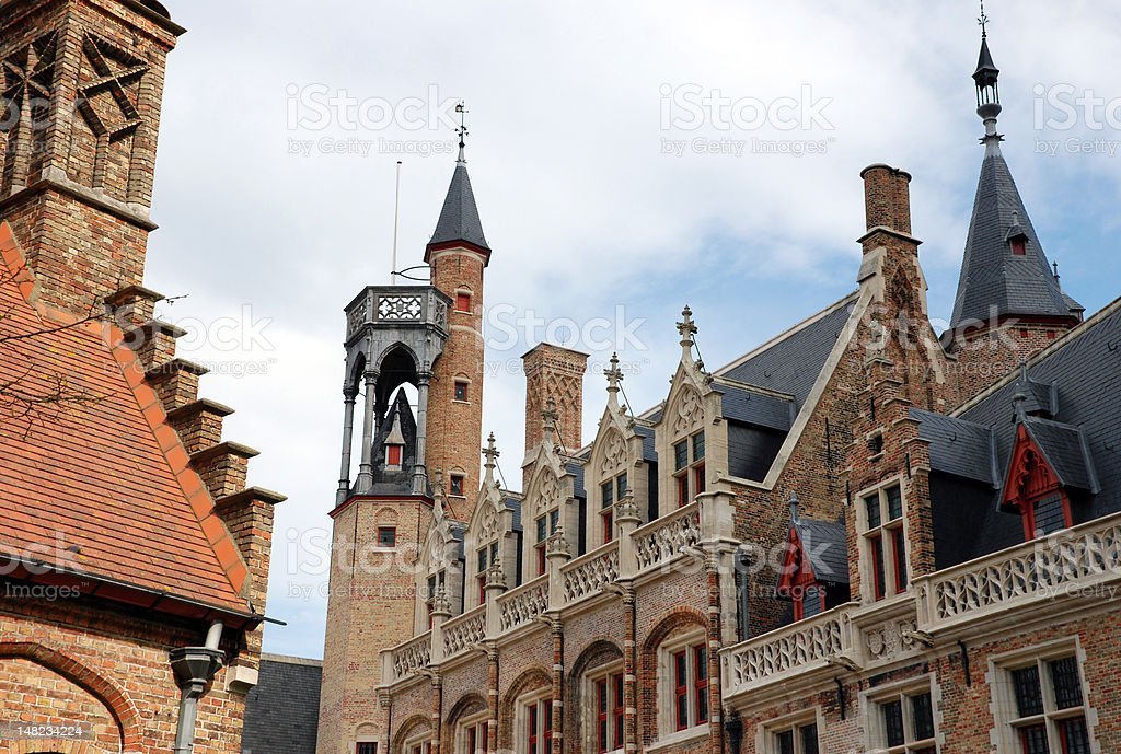 Historical buildings in Bruges royalty-free stock photo