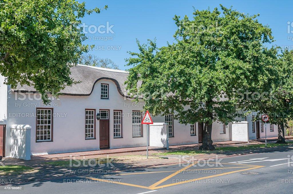 Historical buildings in Stellenbosch stock photo