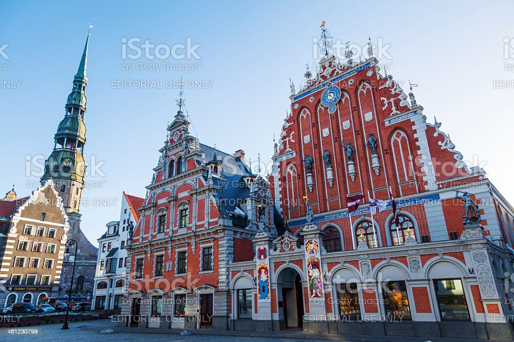 historical buildings in the old town of Riga stock photo
