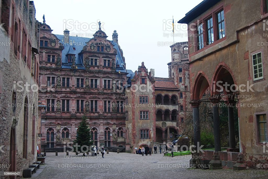 Historical buildings on the grounds of Schloss Heidelberg stock photo