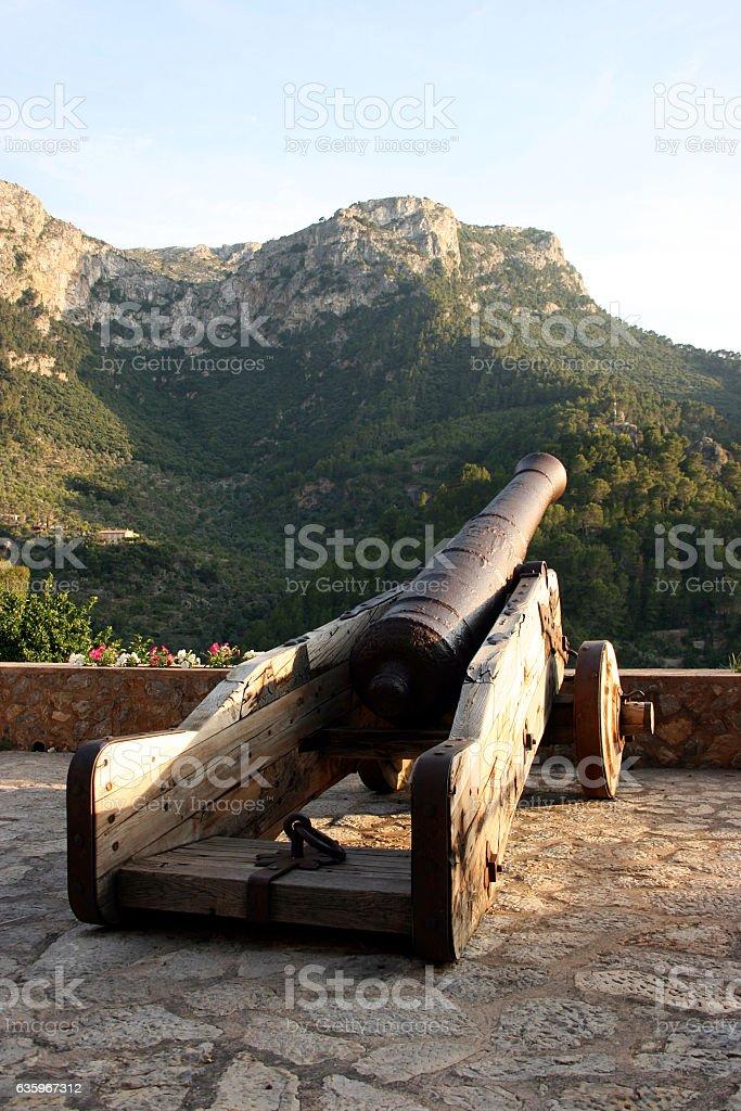 Historical cannons on Ruta de Pedra en Seco, Deia, Mallorca stock photo