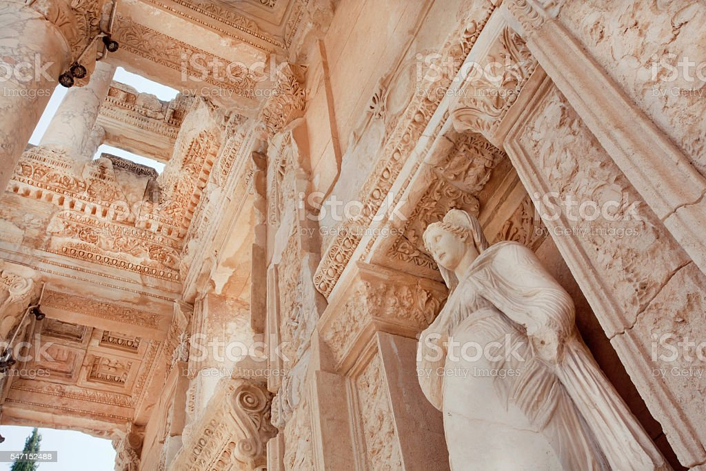 Historical Celsus Library of Ephesus city, 10th century BC stock photo