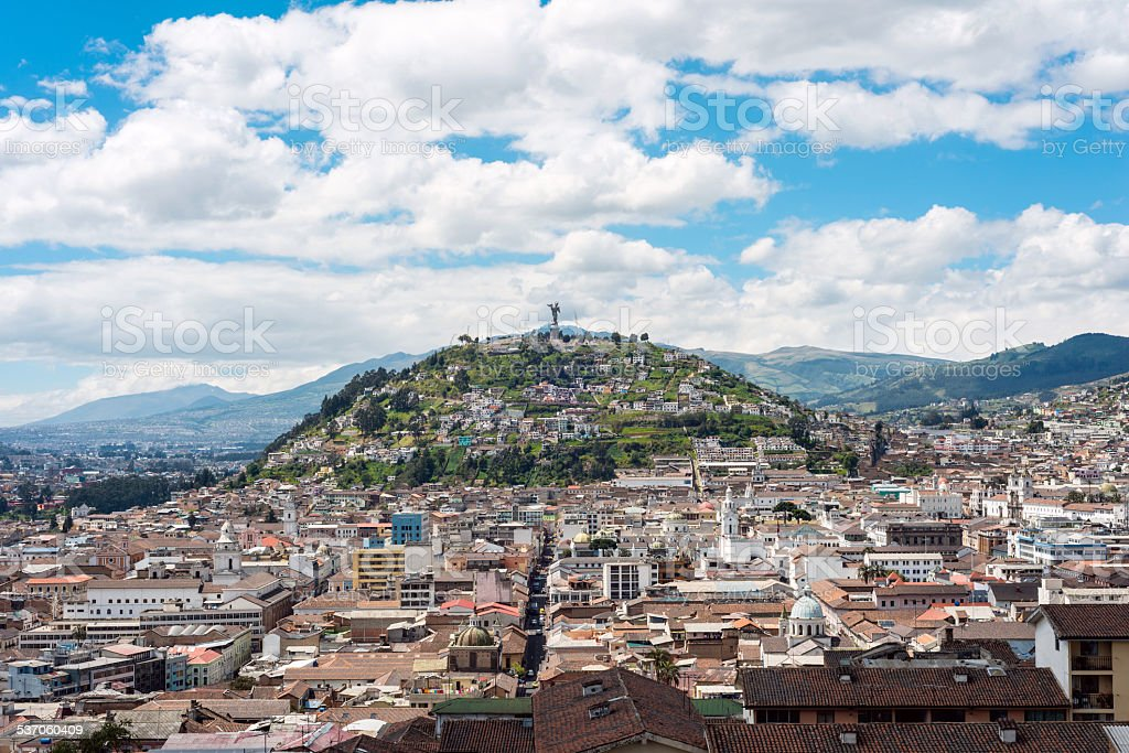 Historical center of old town Quito stock photo