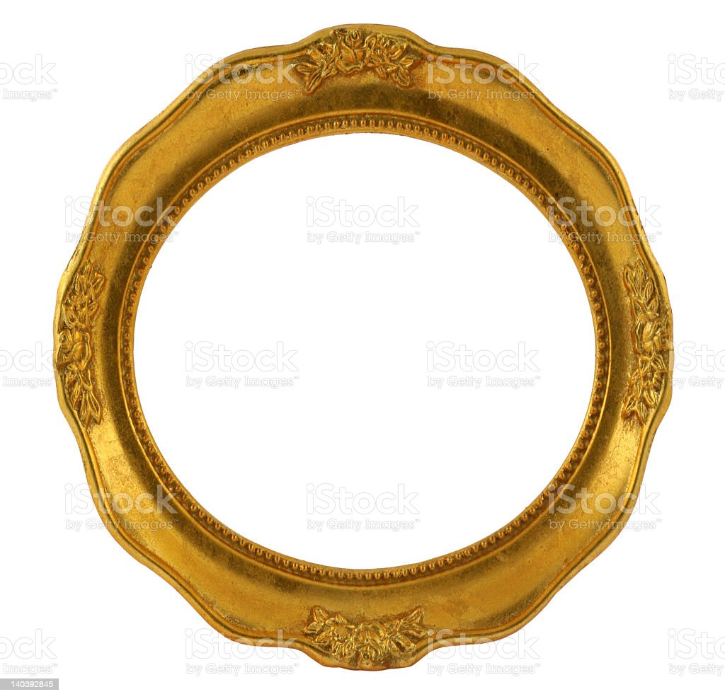 Historical circular frame in golden color with graphics  royalty-free stock photo