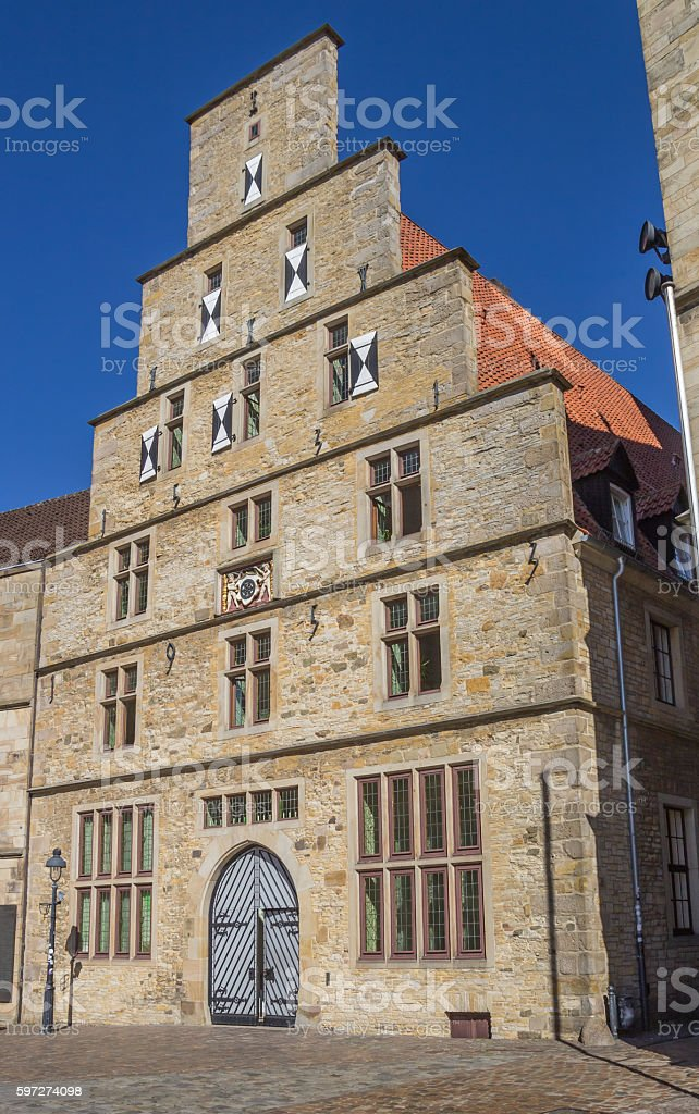Historical city hall at the market square in Osnabruck stock photo