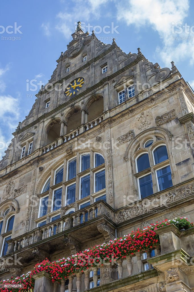 Historical city hall in the center of Bielefeld stock photo