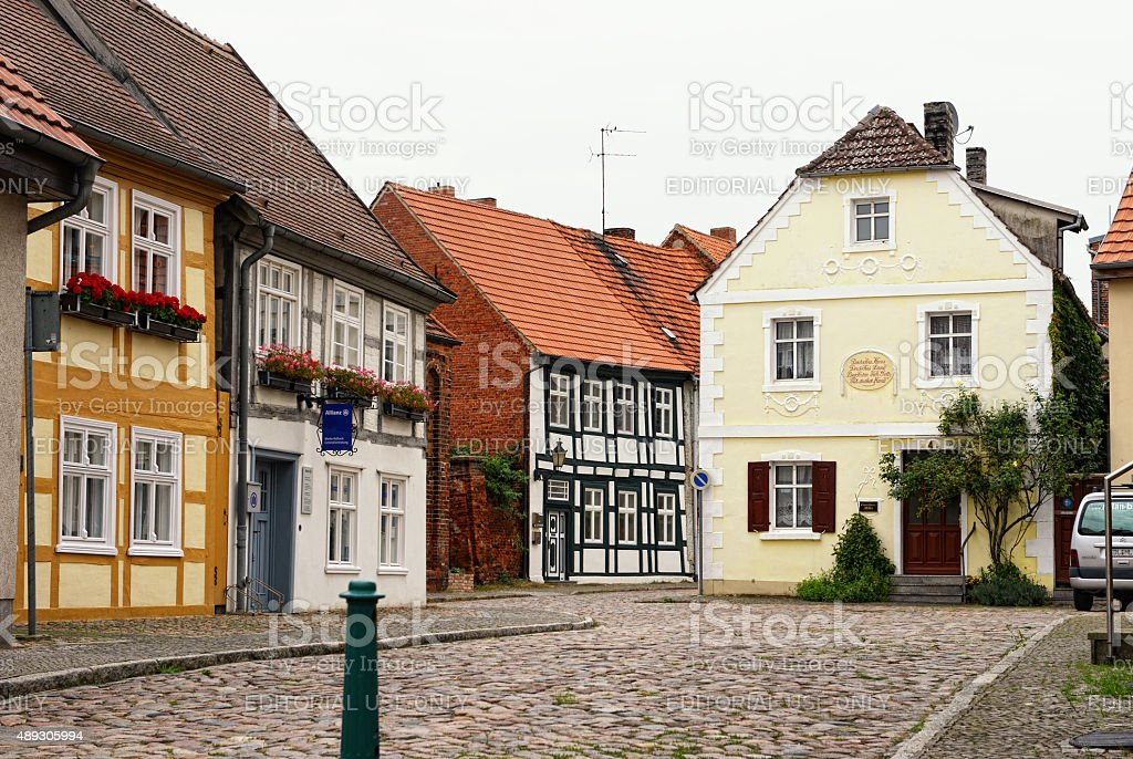 historical cityscape of Havelberg with half-timbered houses stock photo