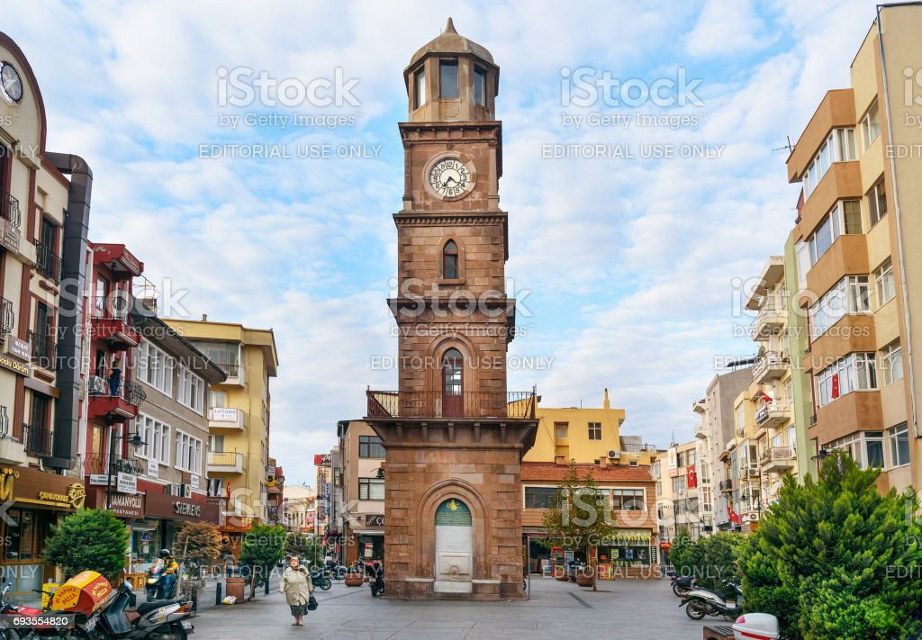 Historical clock tower in Canakkale, Turkey stock photo