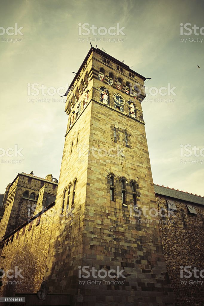 Historical Clock Tower in Cardiff royalty-free stock photo