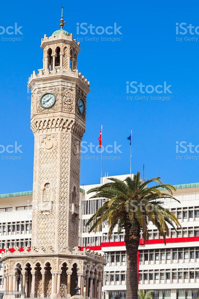 Historical clock tower, Izmir city, Turkey stock photo