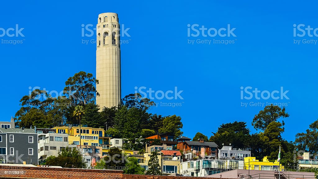 Historical Coit Tower, San Francisco, CA. stock photo