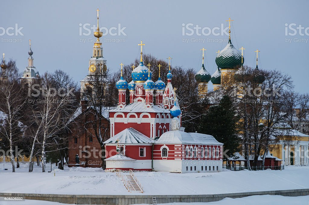 Historical complex of orthodox churches stock photo