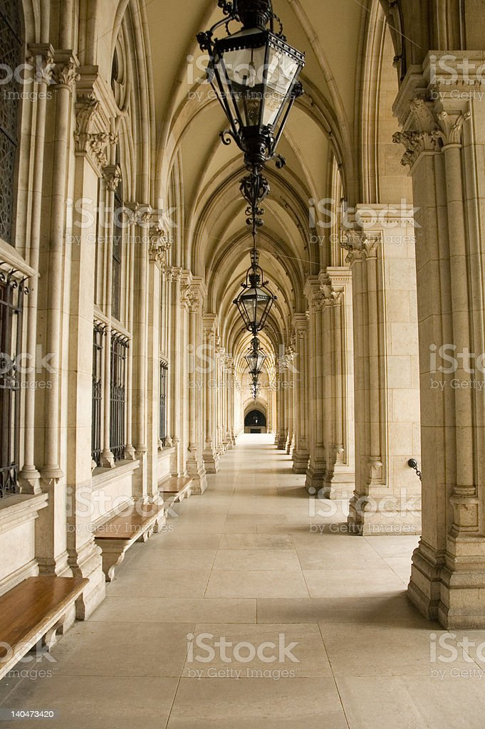 Historical corridor with columns royalty-free stock photo