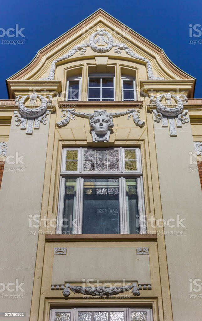 Historical decorated facade in the center of Stade, Germany stock photo