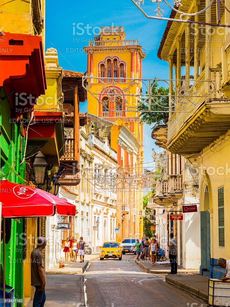 Historical district in Cartagena, Colombia stock photo