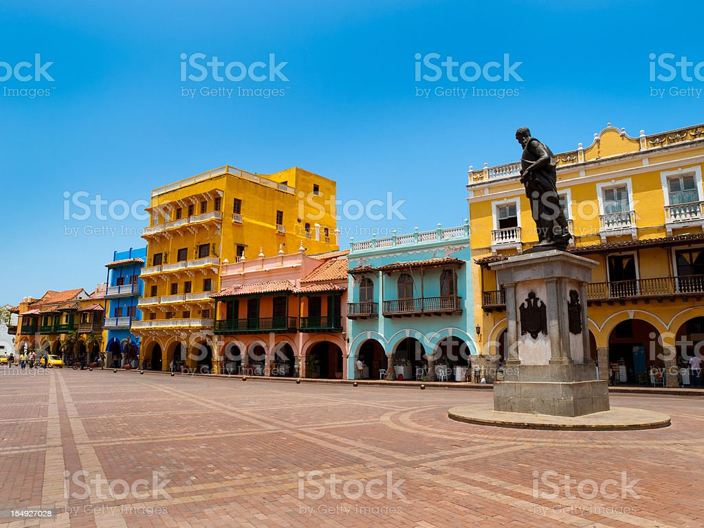Historical district of Cartagena stock photo