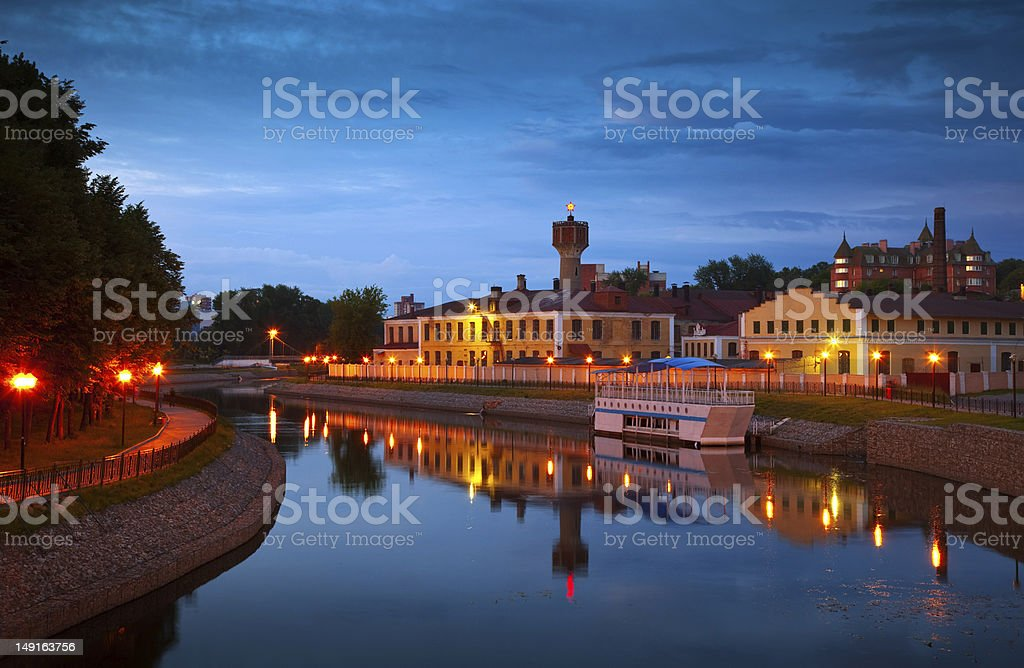 historical district of Ivanovo in night stock photo