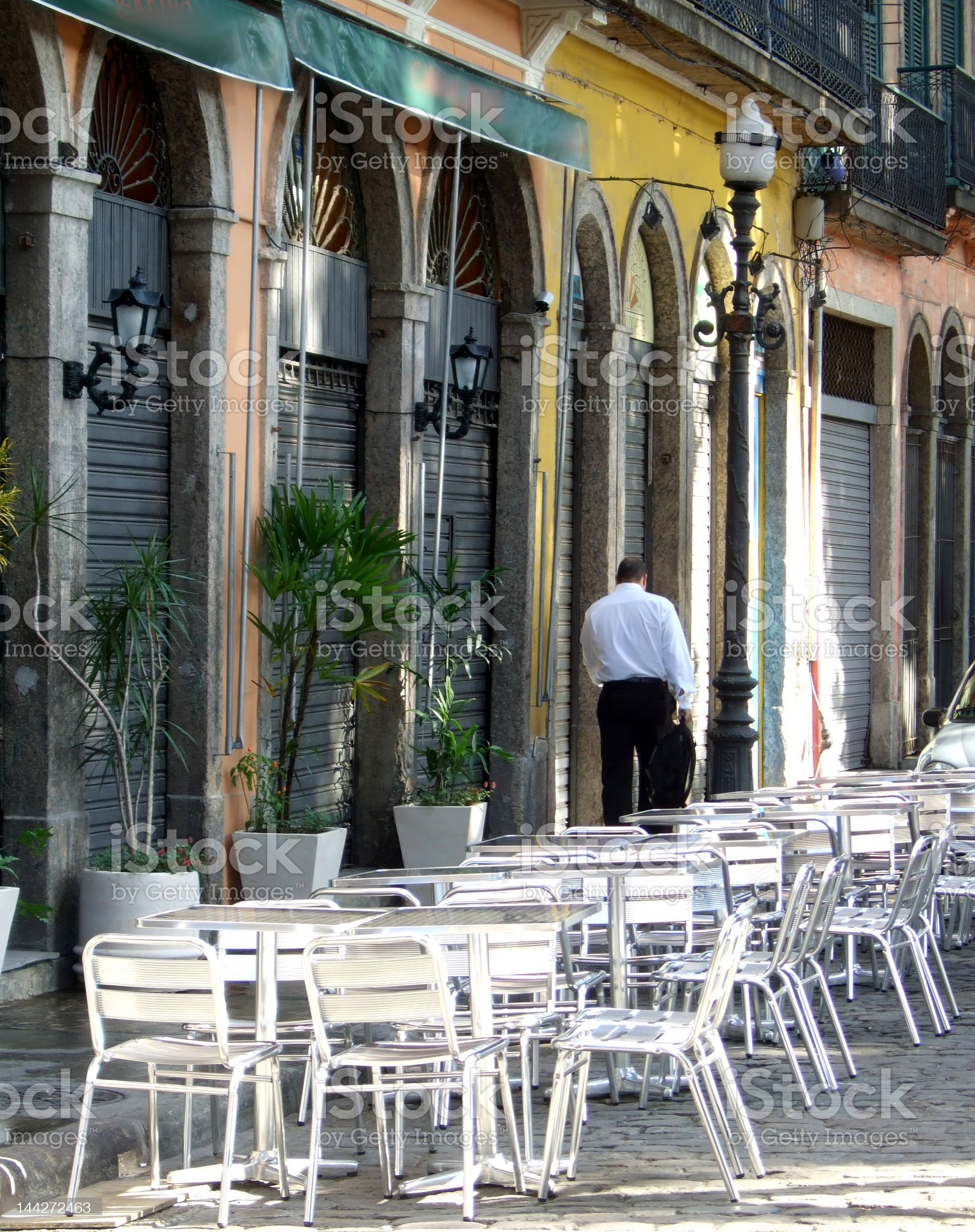 Historical downtown sidewalk in Rio de Janeiro royalty-free stock photo