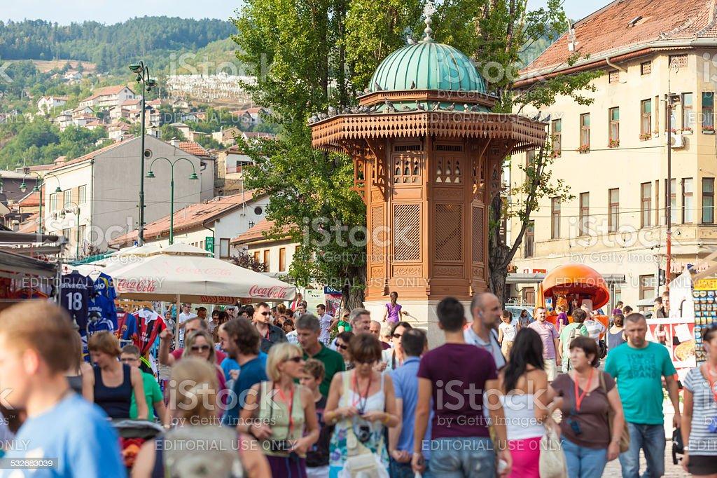 Historical fount in Sarajevo stock photo
