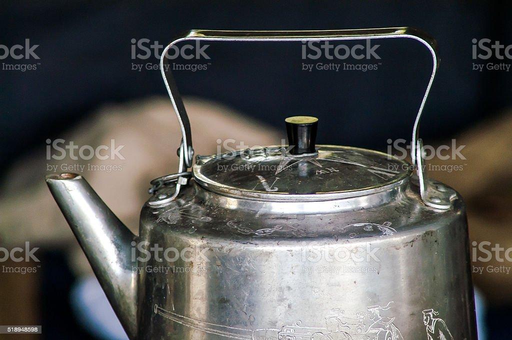 Historical gray iron kettle stock photo