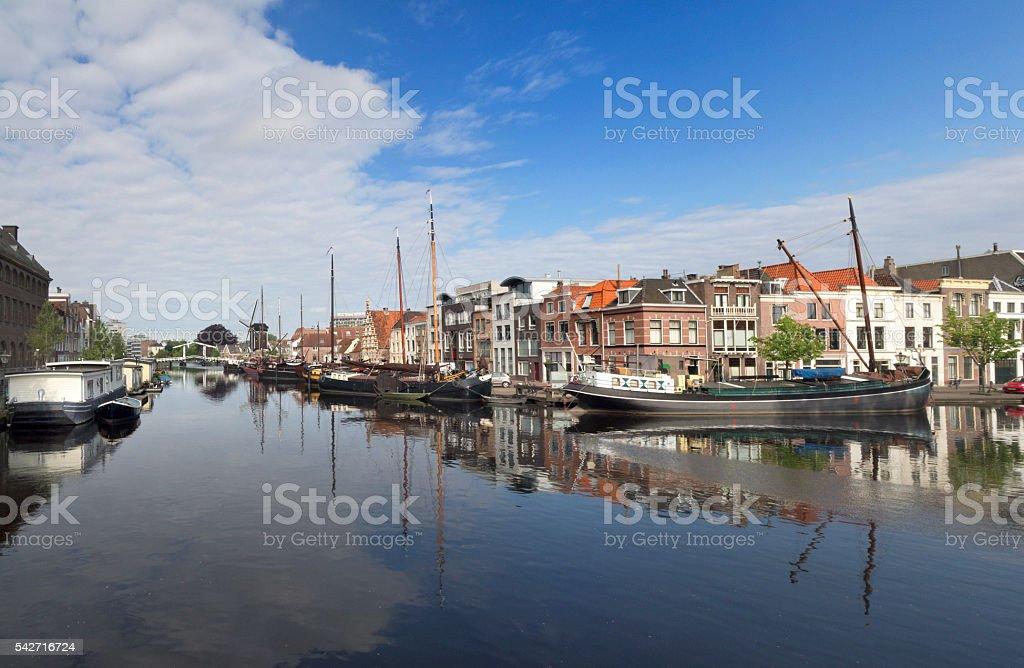 Historical harbor in Leiden stock photo