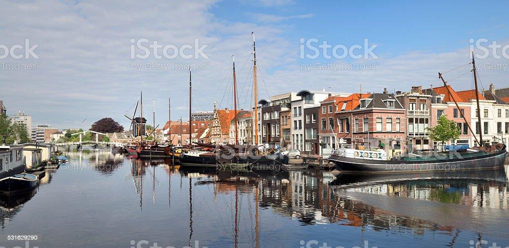 Historical harbor in Leiden, the Netherlands stock photo