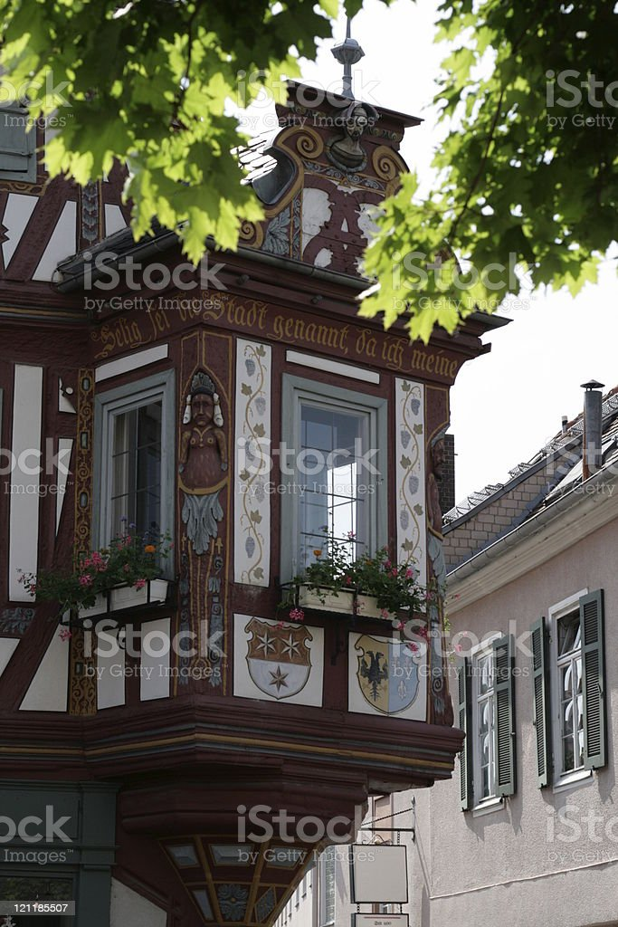 Historical house oriel stock photo
