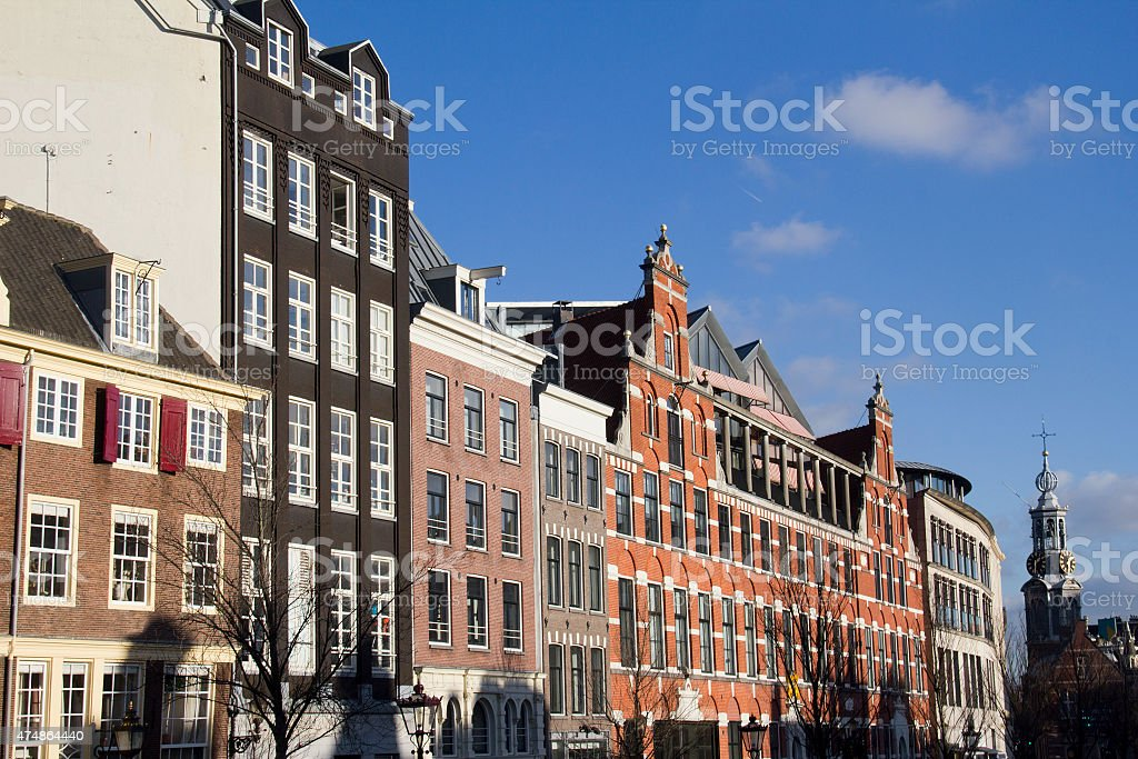 Historical houses in Amsterdam stock photo