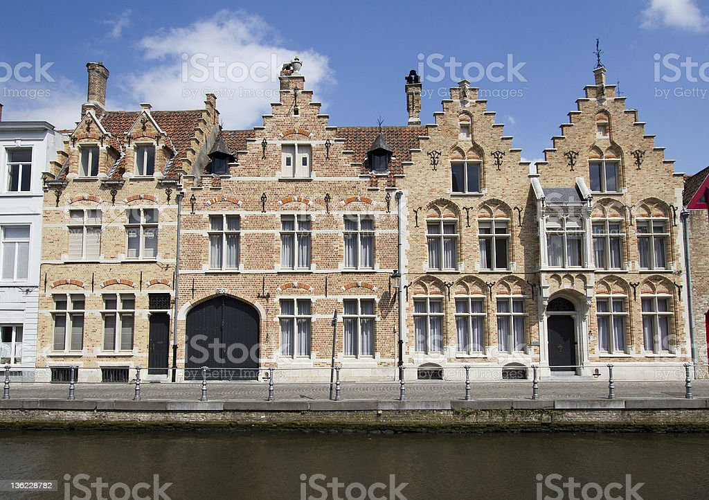 Historical Houses in Bruges, Belgium stock photo