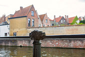 historical iron handling bar with lionhead at brugge belgium