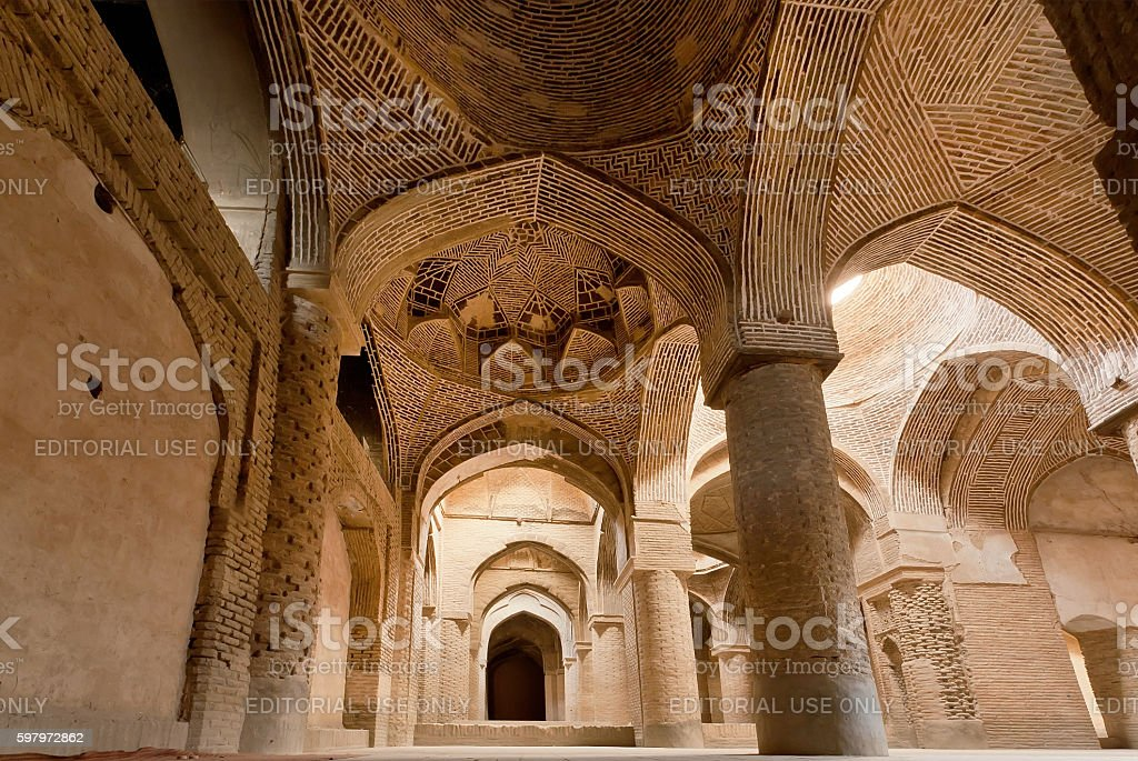 Historical Jameh Mosque of Isfahan, Iran stock photo