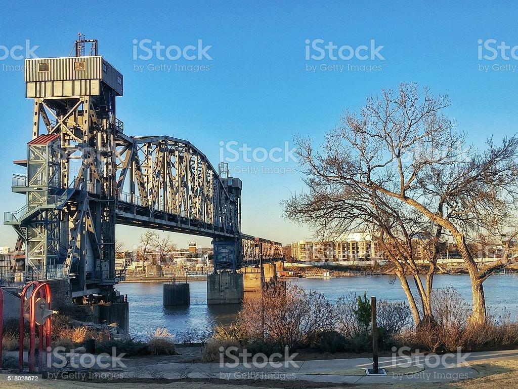 Historical Junction Pedestrian Railroad Bridge, Little Rock, Arkansas stock photo