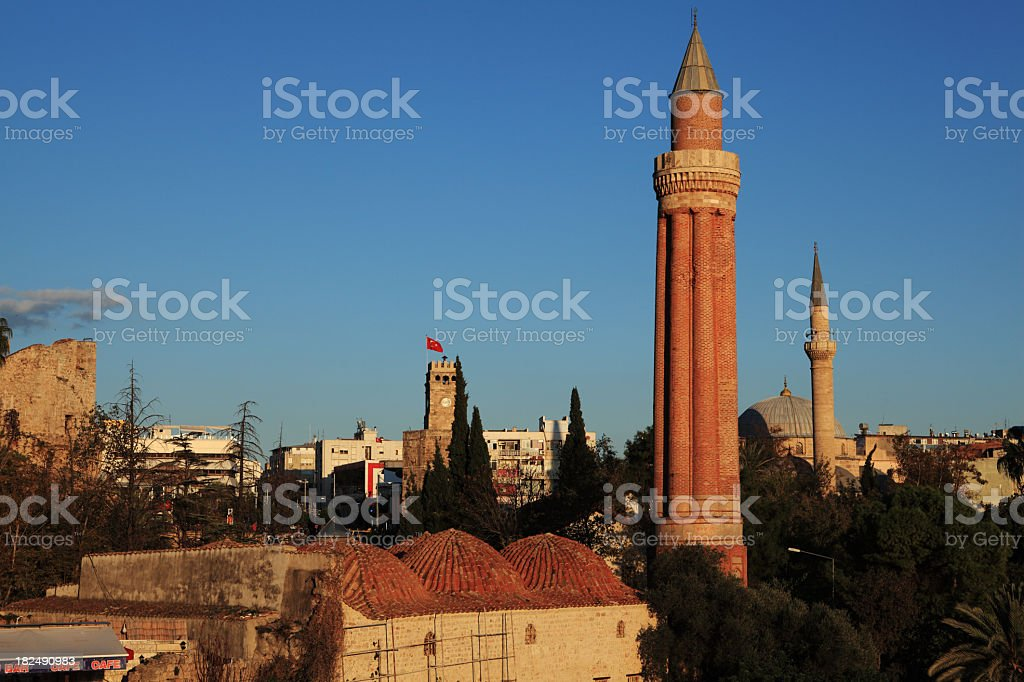 Historical Kaleici Town by the Aegean Sea stock photo