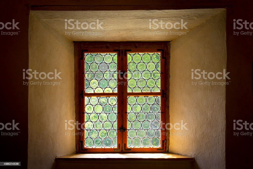 Historical leaded or stained glass window stock photo