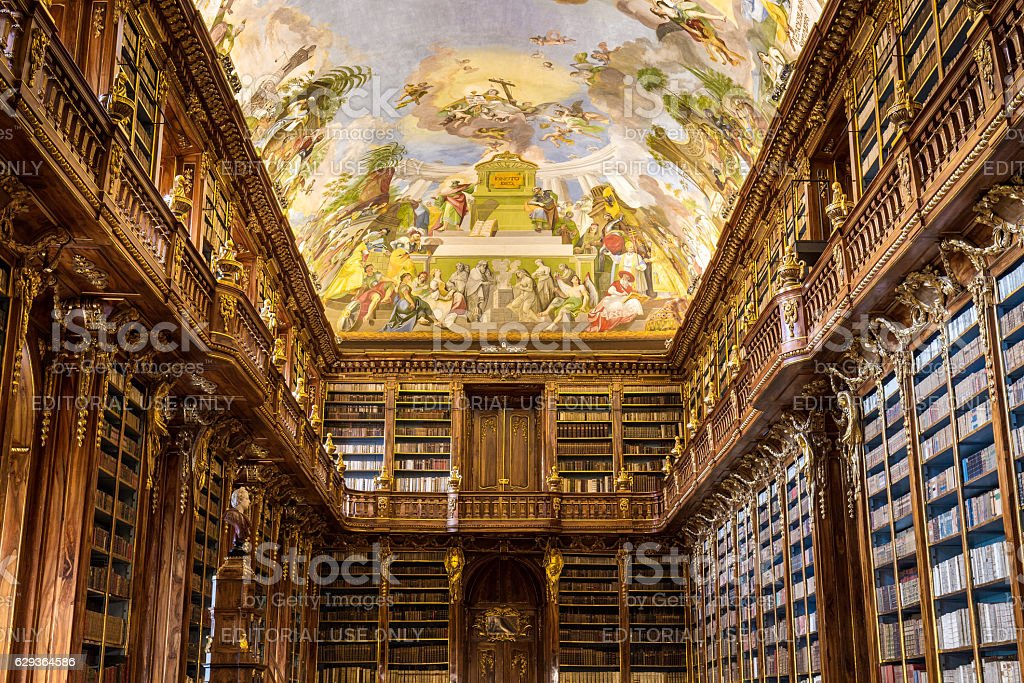 Historical library of Strahov Monastery in Prague, Philosophical Hall stock photo