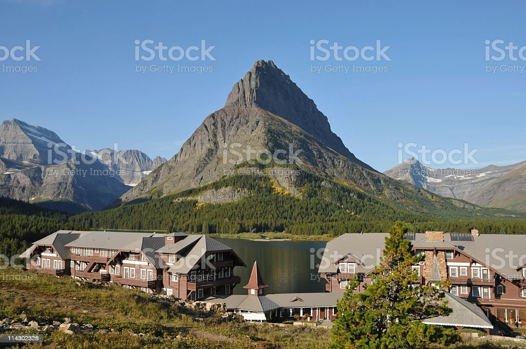 Historical Many Glacier Hotel stock photo