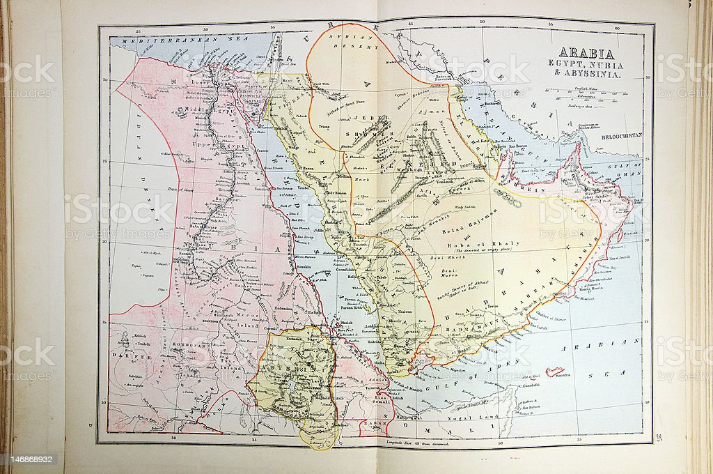 Historical Map Of Arabia Egypt Abyssinia stock photo 146868932 – Map of Arabia