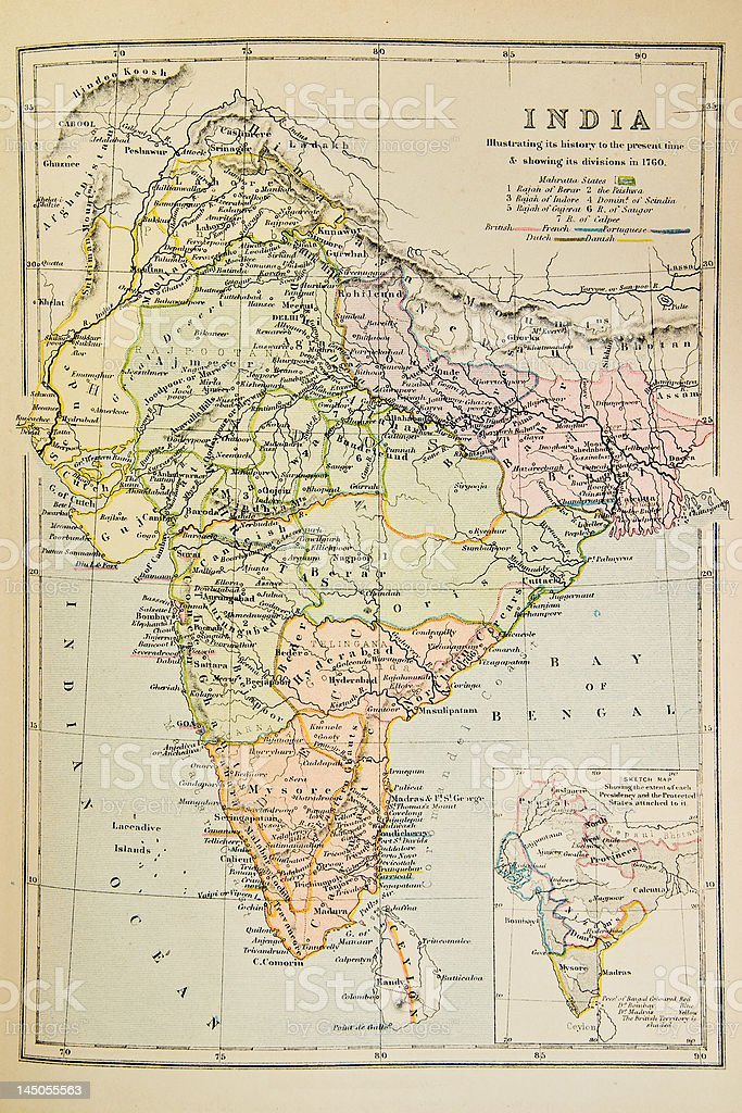 Historical map of India stock photo